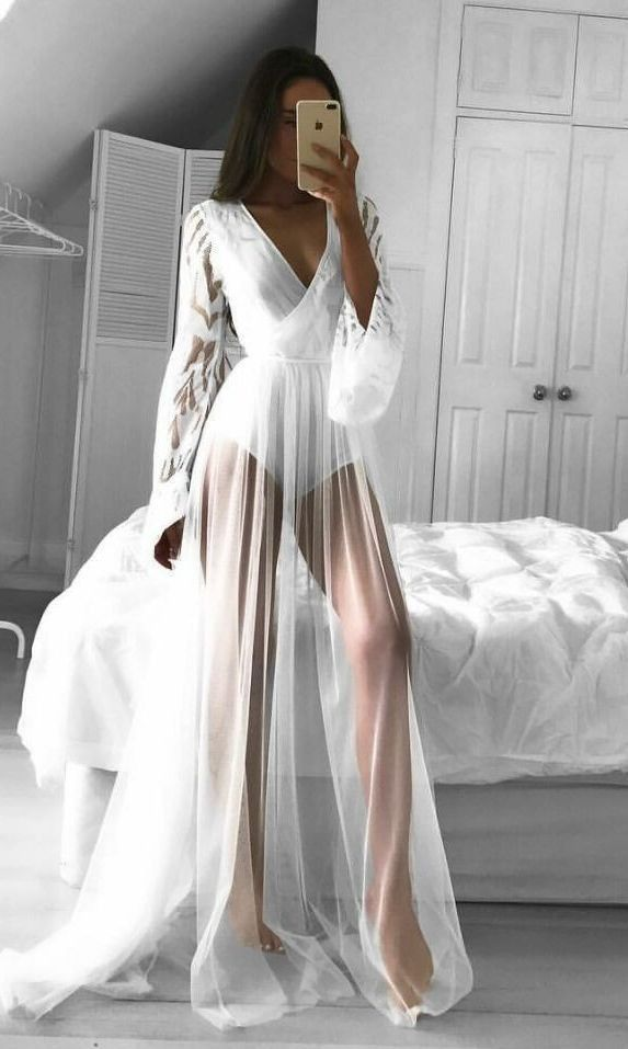 Sheer Long Sleeve Deep Plunge Neckline See Through Lace Elegant Maxi Dress Details Polyester Lace Imp White Lace Bodysuit Bodysuit Dress Evening Dress Fashion