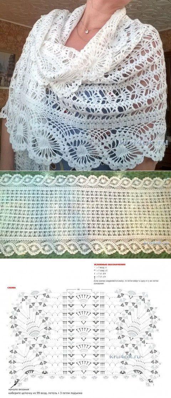 Ажурный палантин с каймой. Работа Елены Шевчук | crochet | Pinterest ...