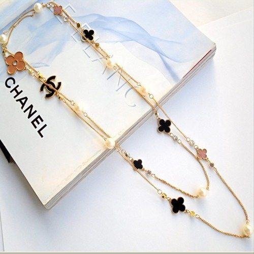 f7cf70efa579 Chanel black pink VC flower cc logo and pearl extreme long nexklace ...