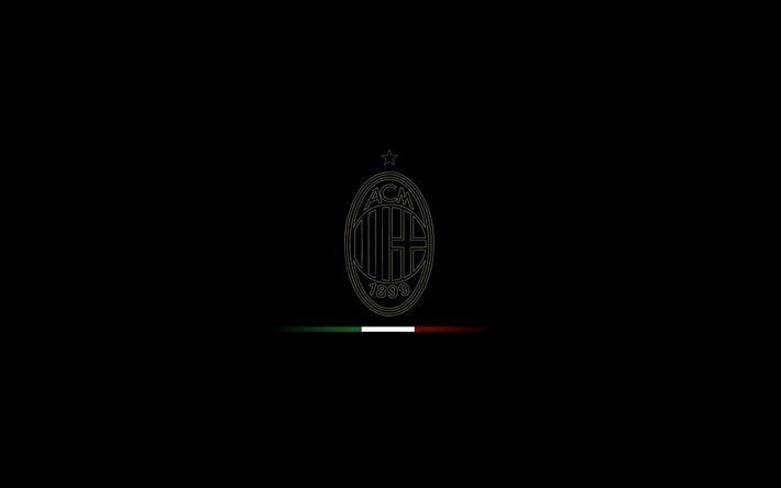 Download Wallpapers Ac Milan Black Background Logo Seria
