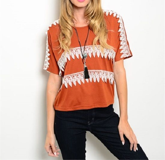 8e0cf2f0289fb Burnt Orange Top Lace Detailing - Longhorn Fashions