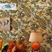 Südostasien Stil Pfau Peahen 3D Tapete Tapeten papel de parede Geprägte Non-Woven 4 Farben(China (Mainland))
