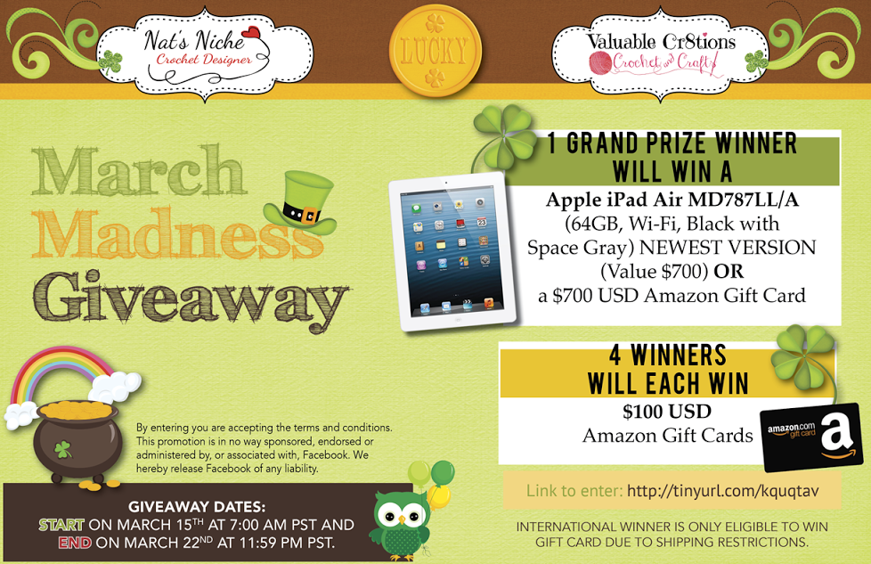 Giveaway over at Nat's Niche! March 15'th through March 22