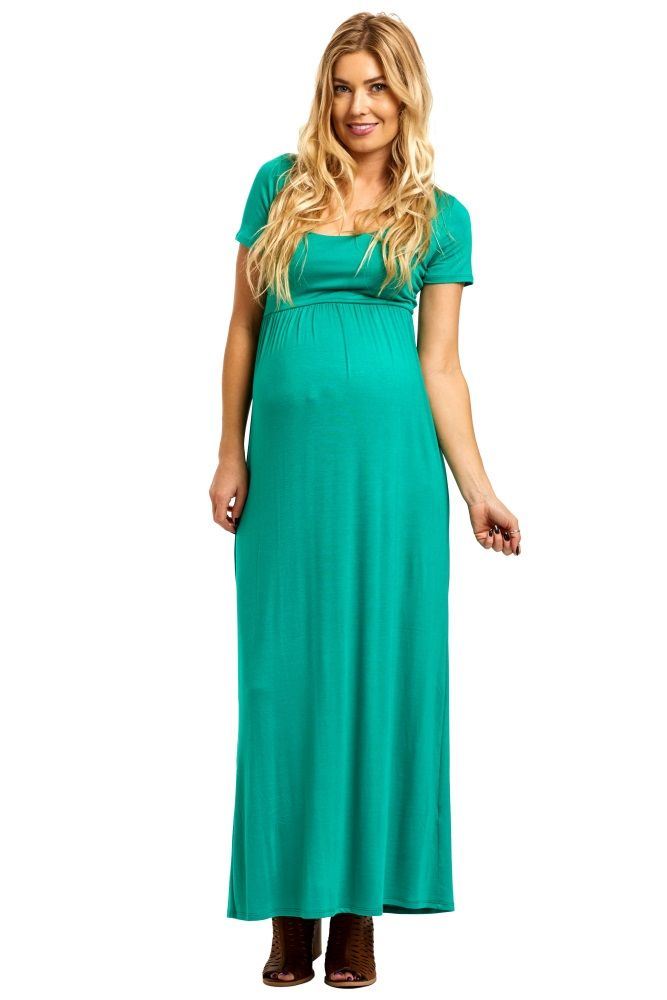 bc7b83250 Emerald-Green-Solid-Short-Sleeve-Maxi-Dress Pregnancy Wardrobe