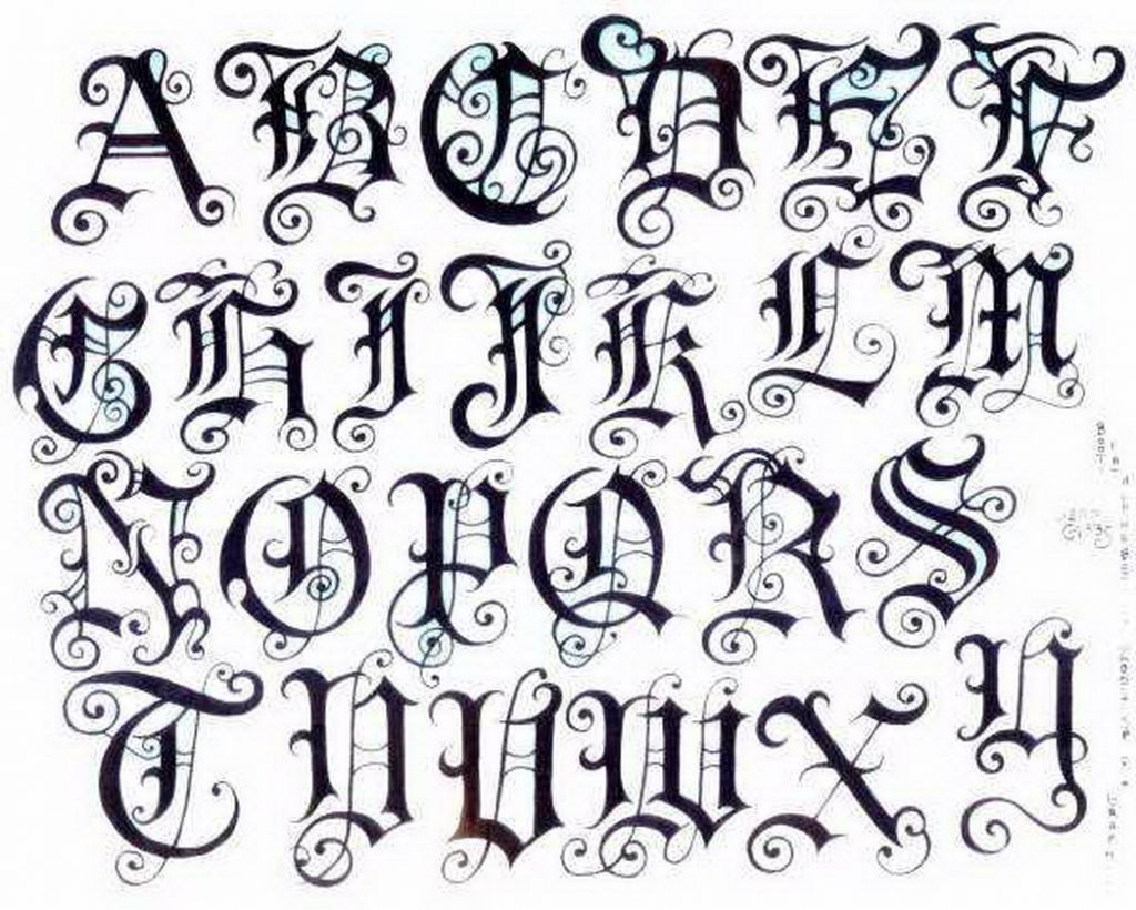 Old english font style a z wall graffiti art