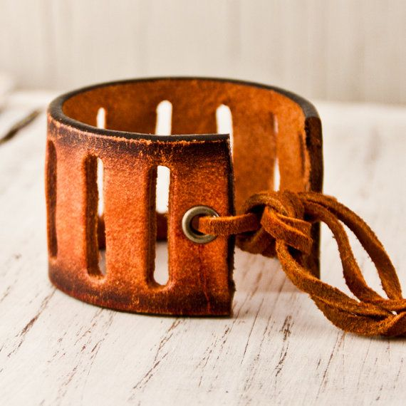 Brown Leather Cuff Fall Colors Autumn Accessories by rainwheel, $50.00