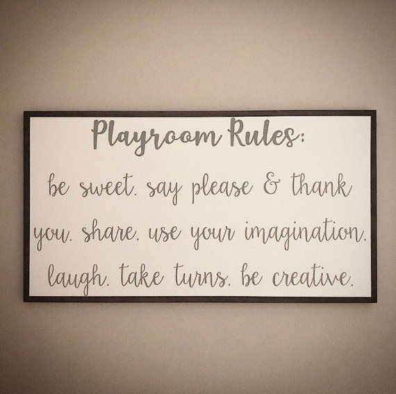 Pin by Danielle Breshears on Daycare Remodel in 2020 | Kids playroom sign, Playroom signs, Toddler p