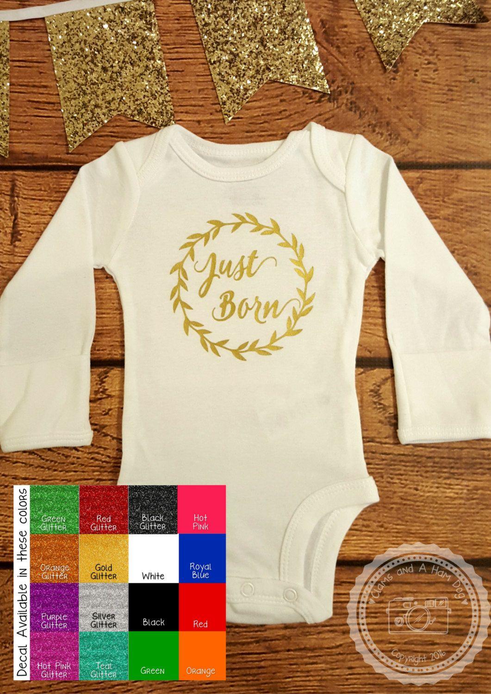 Just Born ONESIE- Going Home Outfit- Metallic Gold Newborn Shirt ...