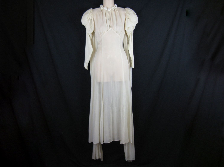 1930s wedding dress  us wedding gown ivory sheer bias silk dress puff shoulders