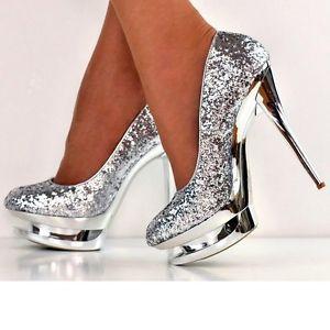 NEW SIZE UK 3 SILVER Sparkly Glitter Stiletto Evening Platform ...