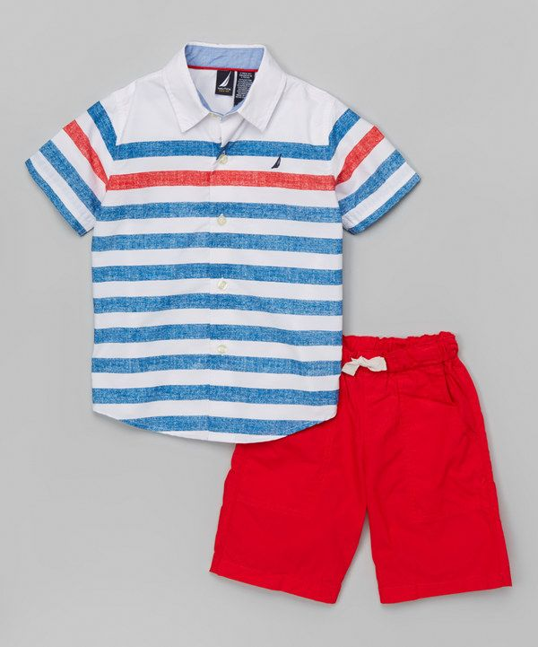 Look at this White Stripe Button-Up & Red Shorts - Infant, Toddler & Boys on #zulily today!