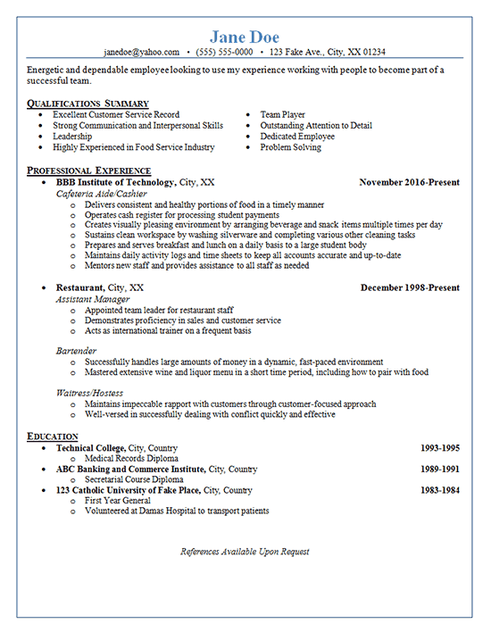Restaurant Hostess Resume Restaurant Server Resume Example  Pinterest  Resume Examples .