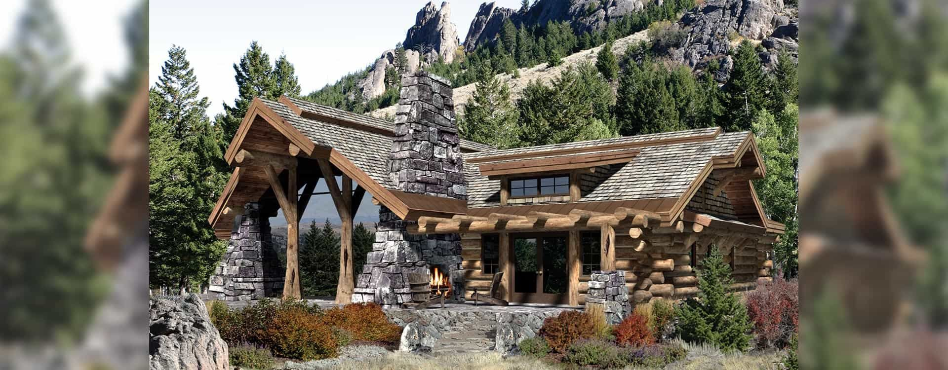 Caribou handcrafted log home Rendering | casas | Pinterest ...