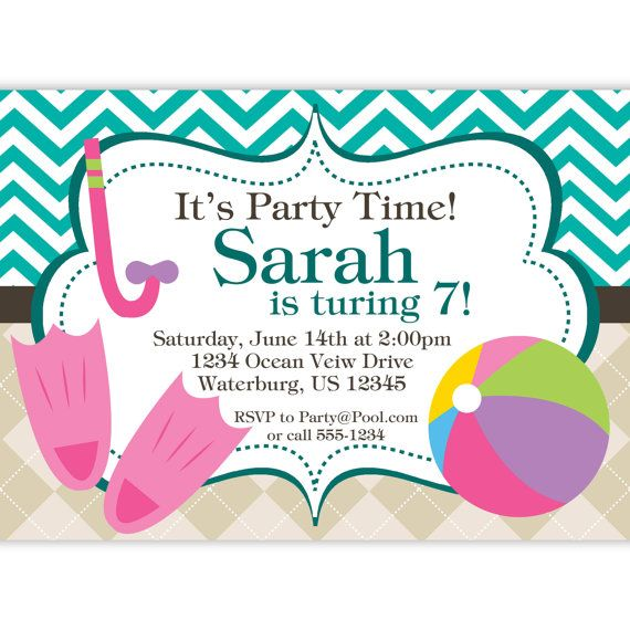 Pool Party Invitation Teal Chevron And Tan By Purpleberryink