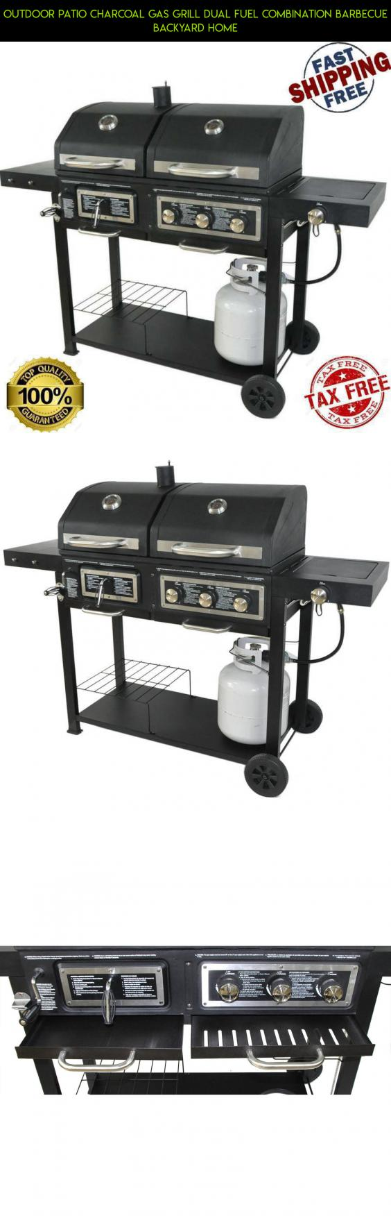 outdoor patio charcoal gas grill dual fuel combination barbecue