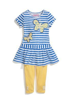 Flapdoodles  Butterfly Stripe Dress and Leggings Set Girls 4-6x