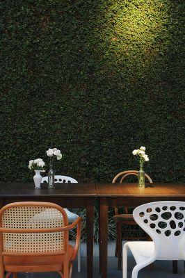 Vitor Penha - industrial chic rústico rustic reuso de design iluminação lightning parede verde parede viva green wall mesa de jantar dinning room