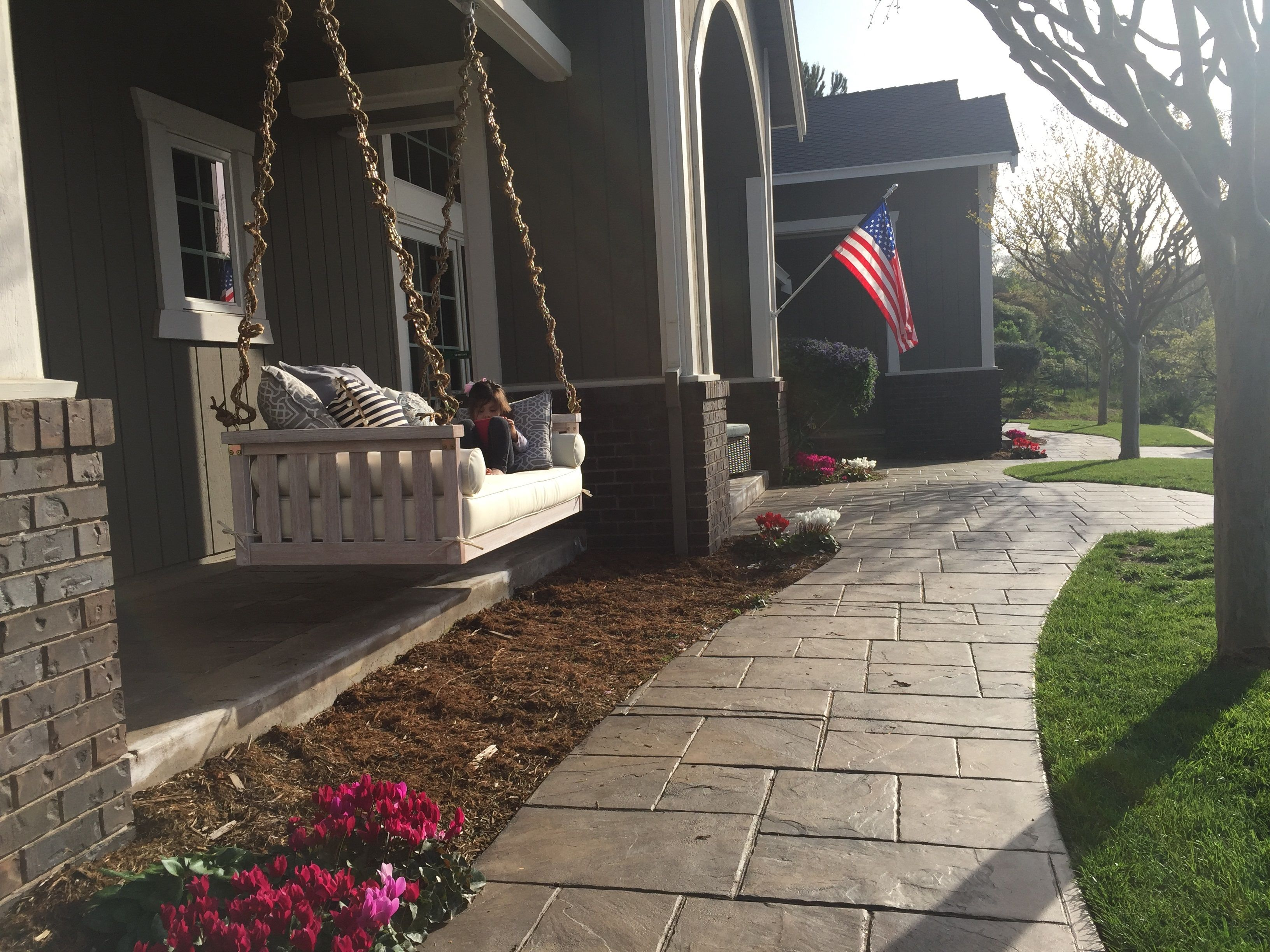 front yard porch swing american flag stamped concrete ballard front yard porch swing american flag stamped concrete ballard designs spring