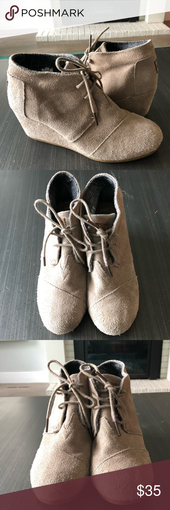 32c22016518 Toms Wedge Booties Worn a handful of times. Great condition. Taupe. The  lovely TOMS® Kala wedge bootie easily complements your jeans and leggings.