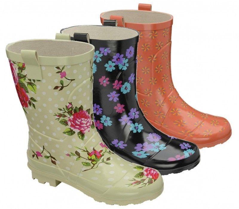 f0f8409f31ed D77 Wellington Boots Womens Wide Calf Fitting Short Wellies Rain Snow New   Unbranded
