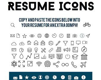 Download 54 Png Icons For Contact Information Experience And Skills For Your Resume Resume Template Etsy Resume Icons Resume