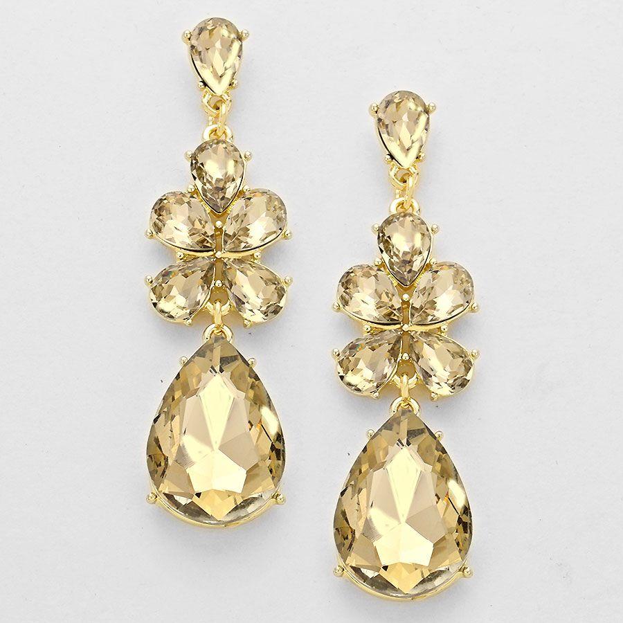 Yellow Stone Fl Drop Earring Pageant Prom Earrings Jewellery Tlleoftheballboutique Co Uk