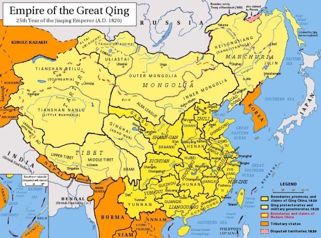 Dynastie Qing 1820 Ad Dynastie Qing Cartes Et Empire