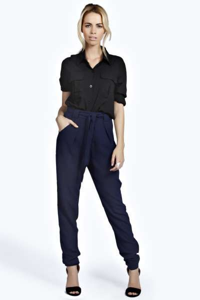 Brittany Woven Crepe Belted Trouser