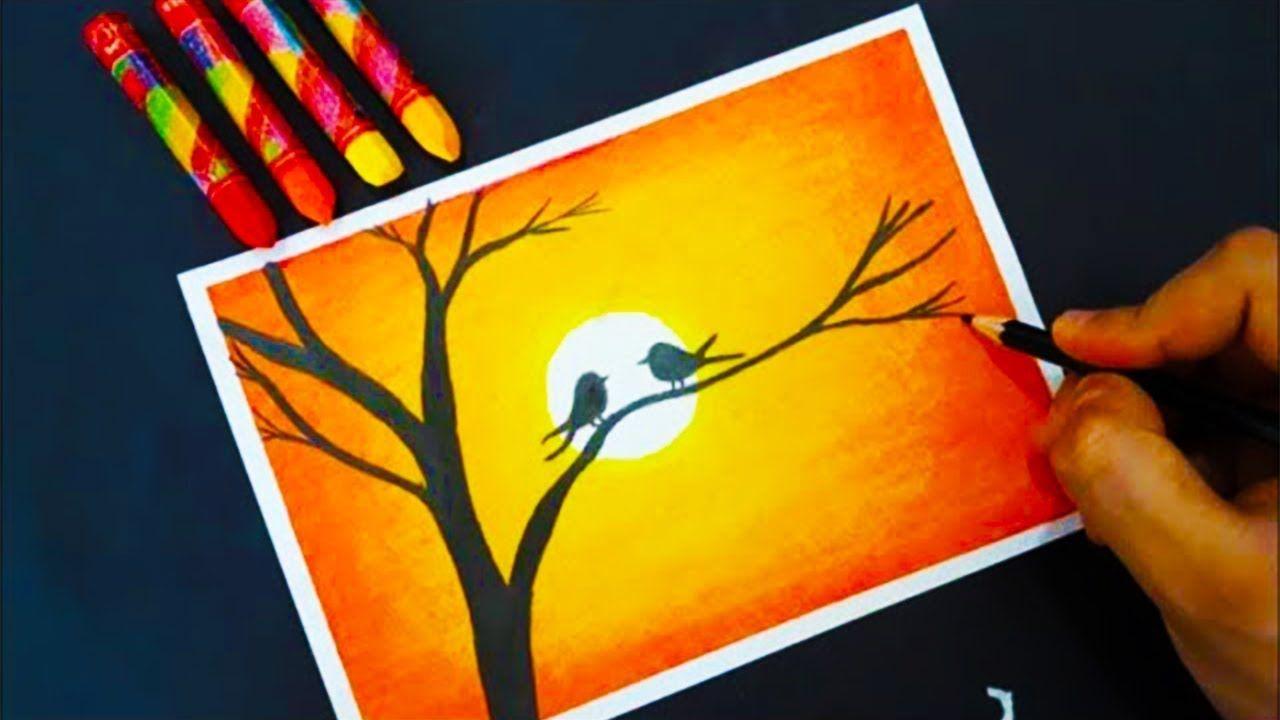 Gun Batimi Pastel Boya Ile Cizimi How To Draw Scenery Of Sunset