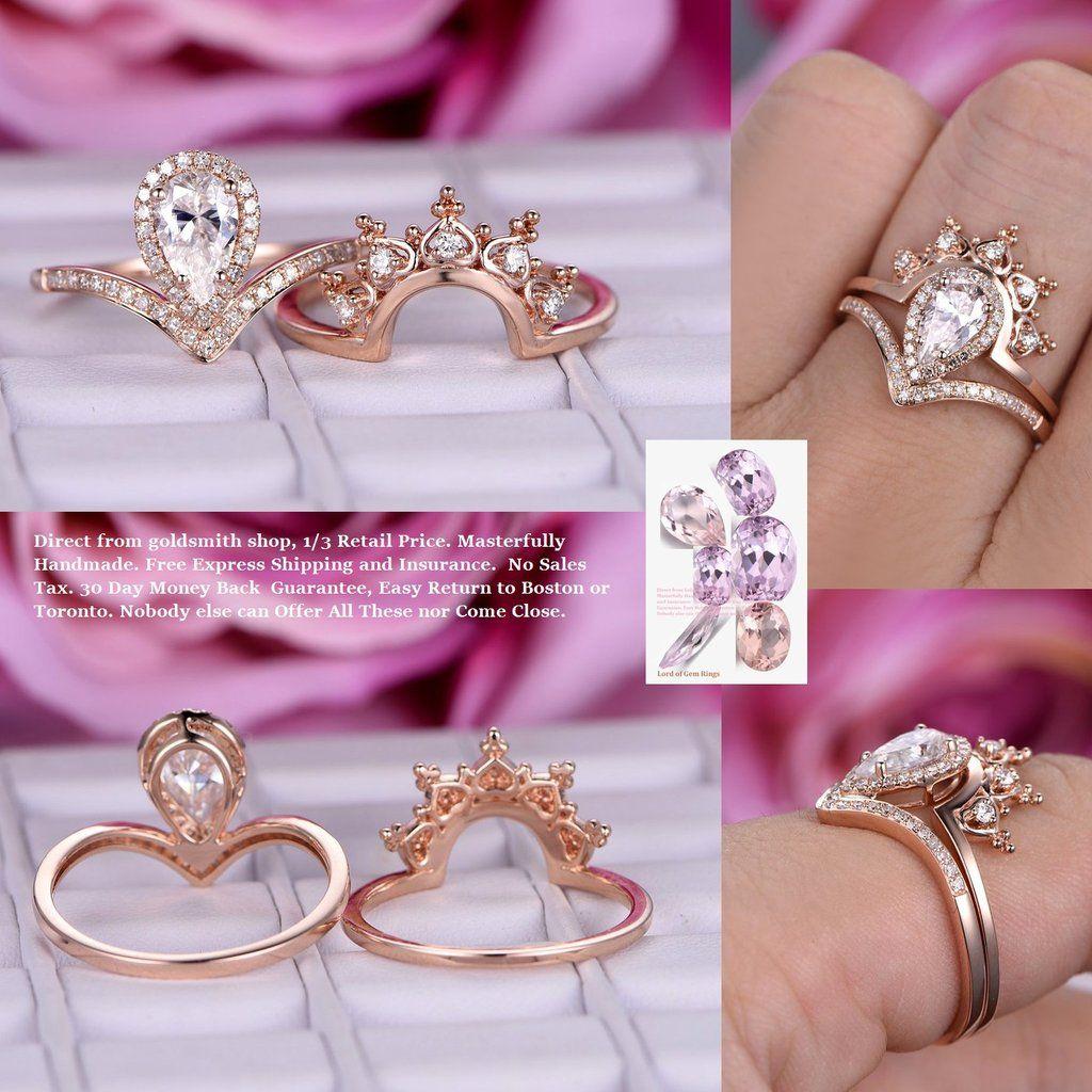 Pear Moissanite Engagement Ring Sets Tiara Wedding Band14K Rose Gold ...