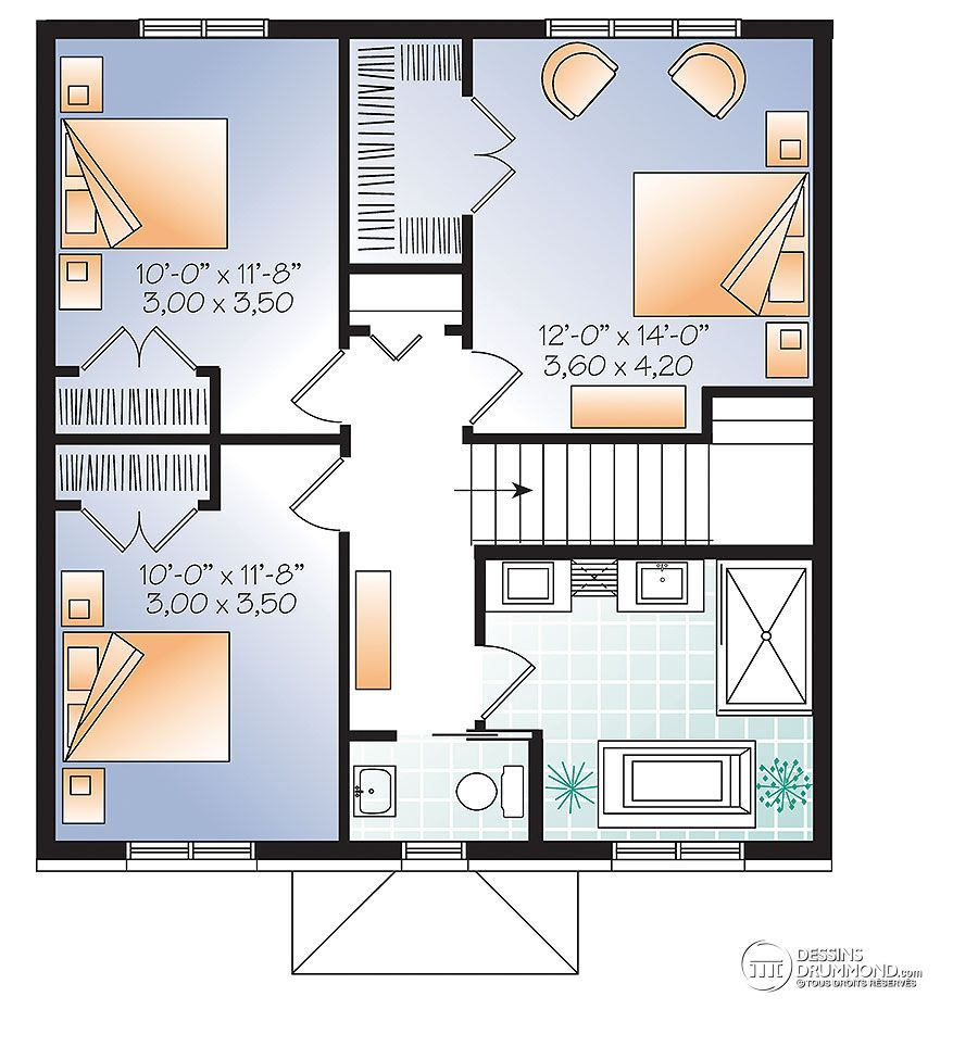 w3716 bon prix pour plan de maison moderne avec 3 chambres et bureau ferm maison aire ouverte