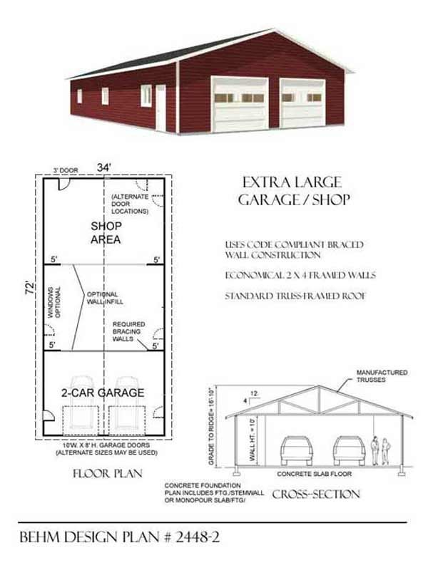 Extra large 2 car garage shop plan 2448 2 34 39 x 72 39 by for Oversized garage plans