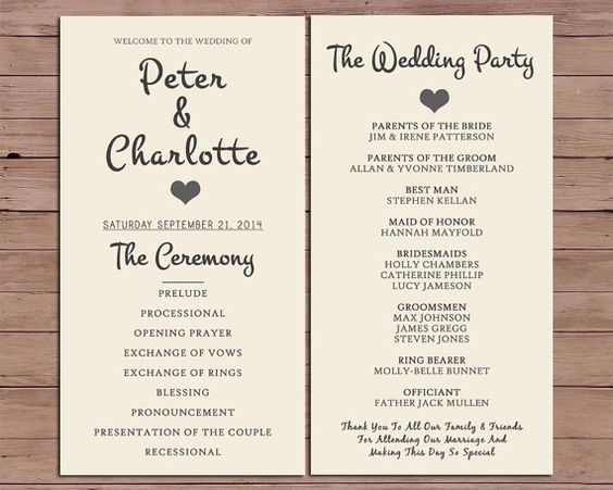 Wedding program order of service by darlingpapercompany on etsy ceremony programs wedding program order junglespirit