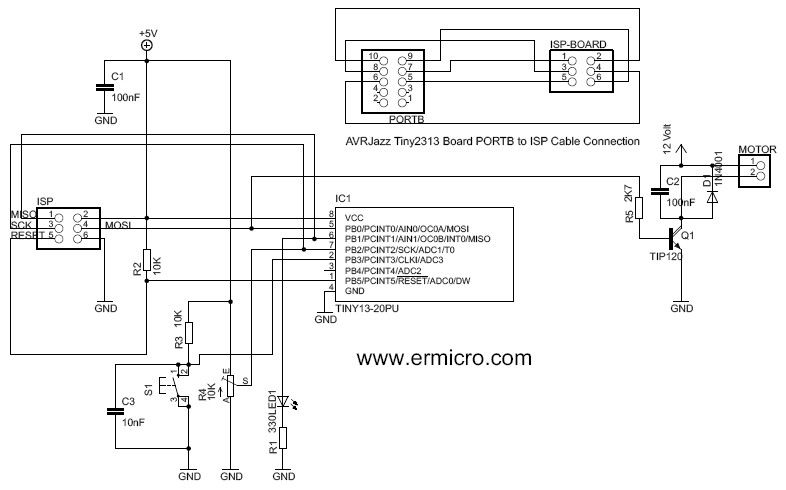 Controlling DC motor with AVR ATtiny13 PWM and ADC Project