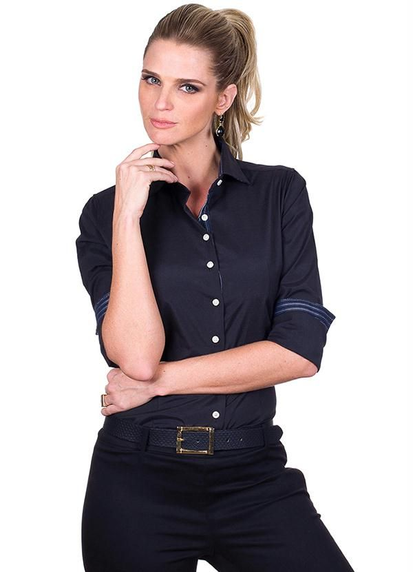 3e742a8f5 Camisa Social Feminina Preto Colombo - Posthaus Camisa Social Feminina,  Camisa Preta, Camisas Sociais