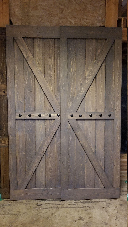 Double British Brace Barn Door Sliding Set With Hardware Etsy Barn Doors Sliding Barn Door Diy Sliding Barn Door