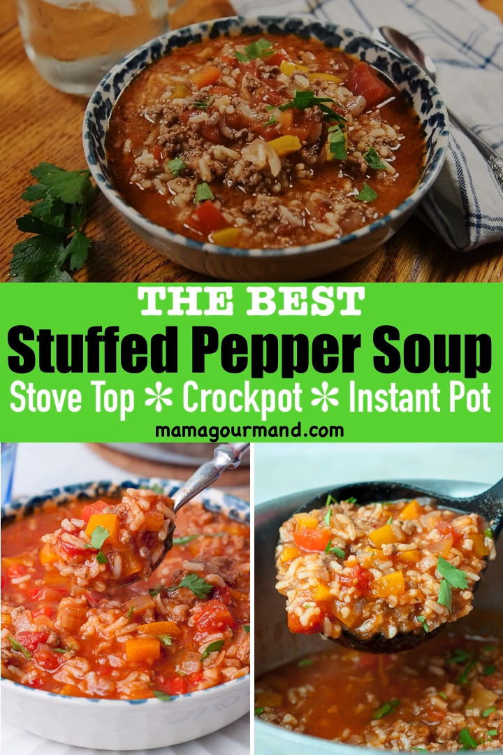 Stuffed Pepper Soup Video Recipe Video Stuffed Pepper Soup Healthy Crockpot Recipes Stuffed Peppers