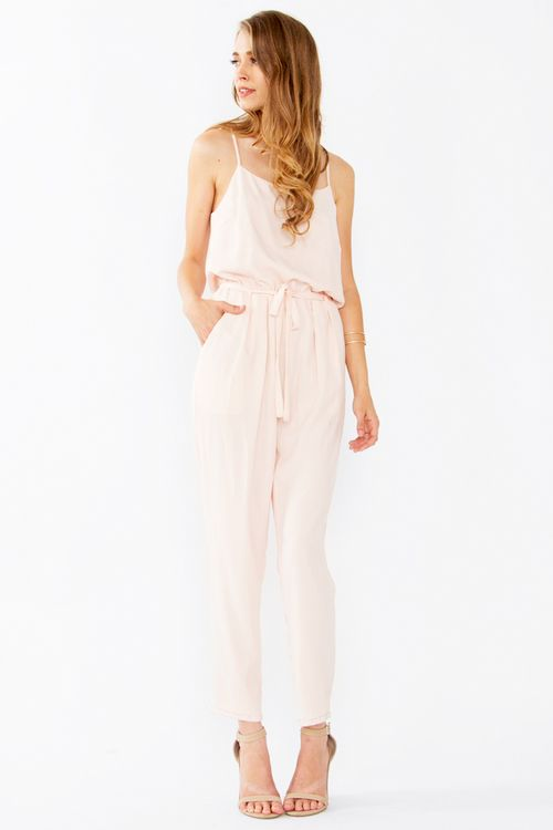 Little Bo Pink Jumpsuit | Blush spaghetti strap jumpsuit with a self tie around the waist. Front pockets. Adjustable straps. | Chapter24