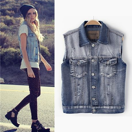 2014 spring and summer fashion vintage bf wearing white hole loose denim vest female short jean jacket