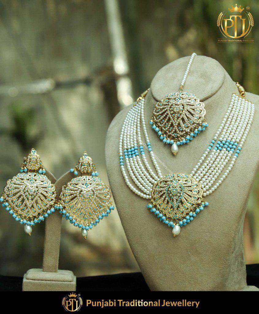 Gold finished firoza jadau necklace set punjabi