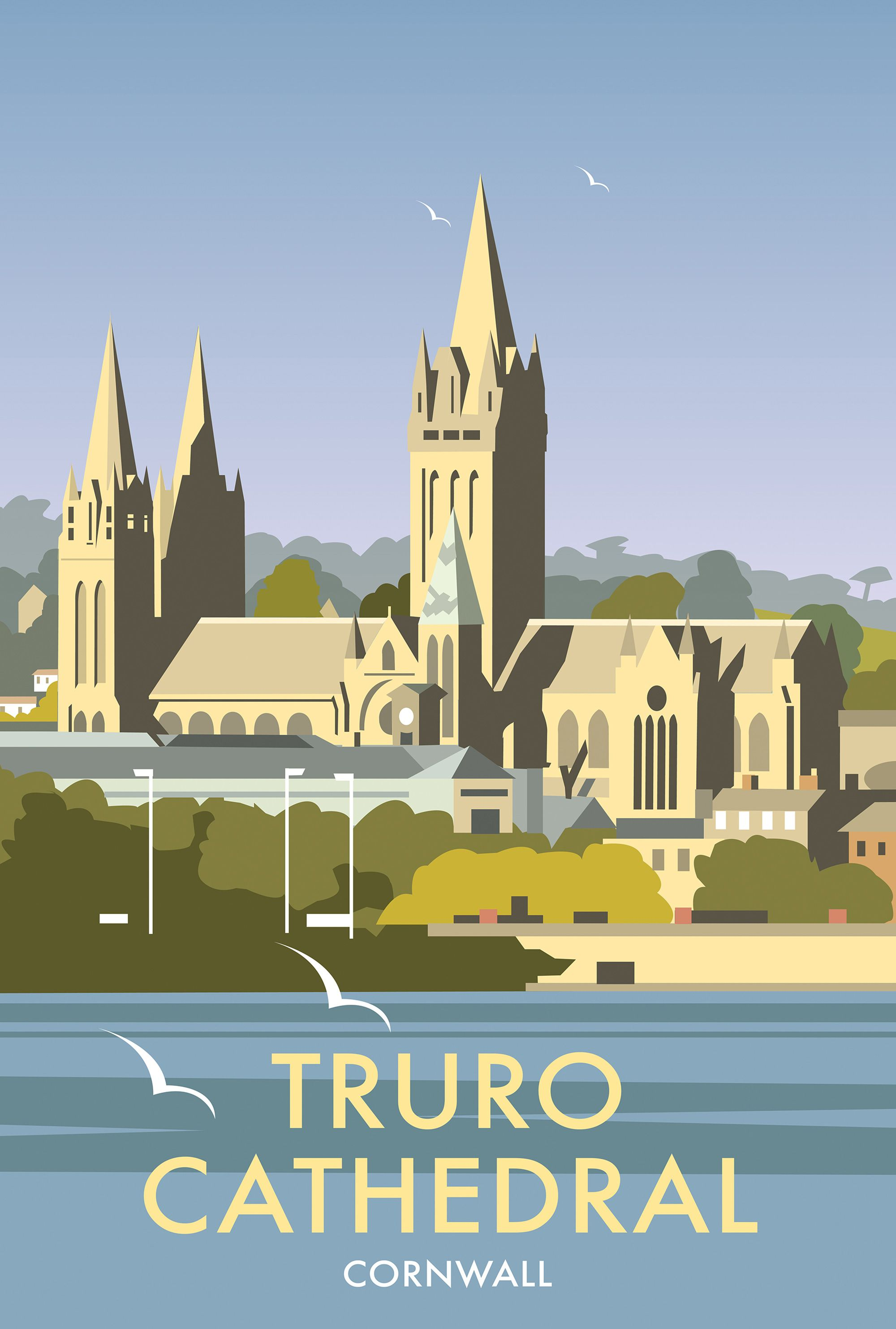 Truro Cathedral, Cornwall by Dave Thompson | Vintage Travel Posters ...