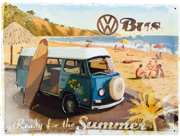 Vw Kombi Bus Surf Coast Plaque Decorative Retro En Metal