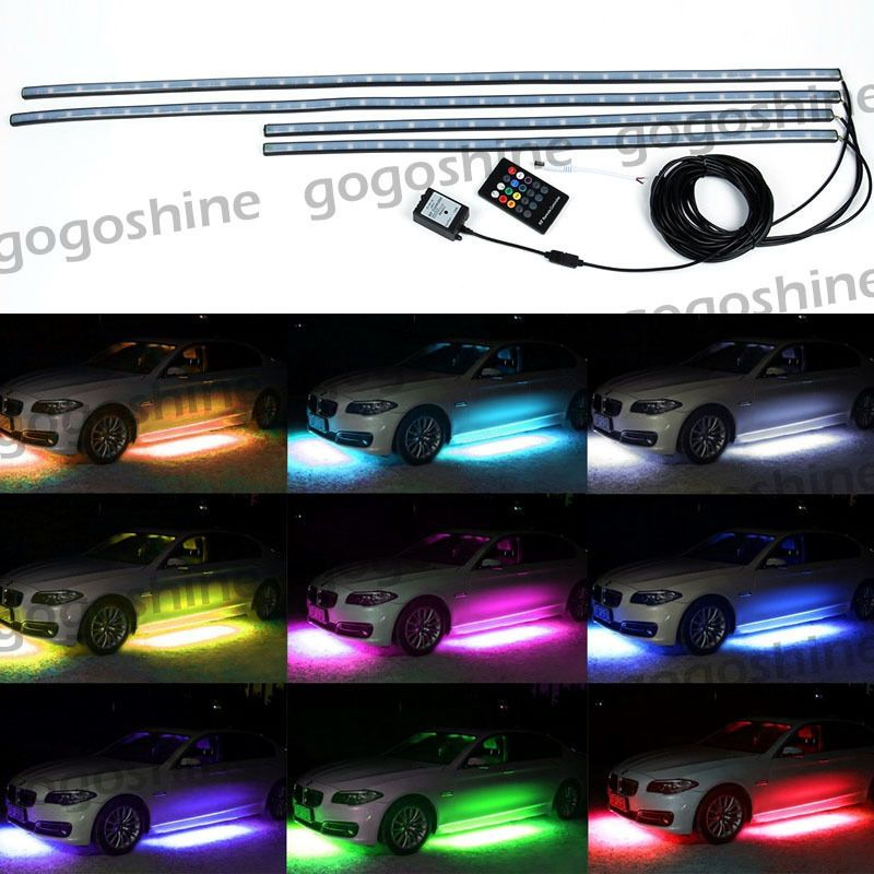 Automotive Led Light Strips Simple Awesome Amazing 4Pcs Rgb Led Under Car Tube Strip Underglow Body Design Decoration
