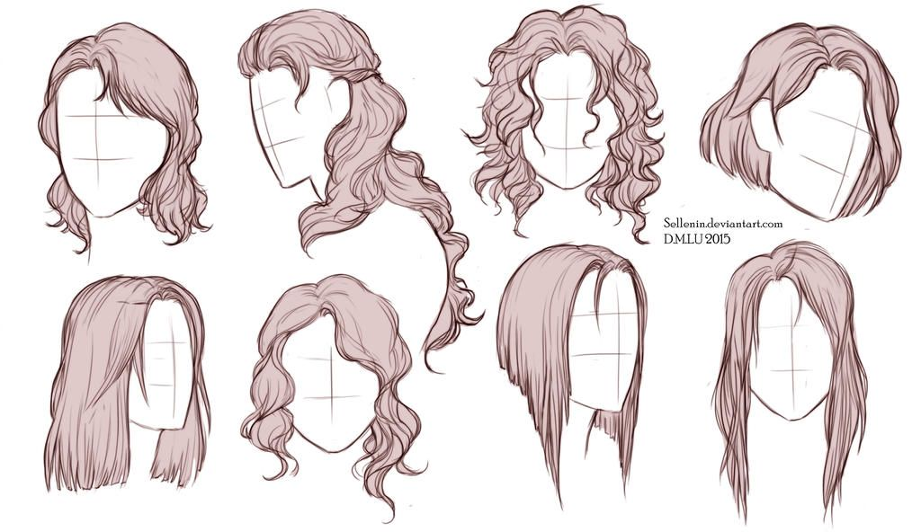 Hairstyles By Sellenin How To Draw Hair Hair Reference Long Hair Drawing