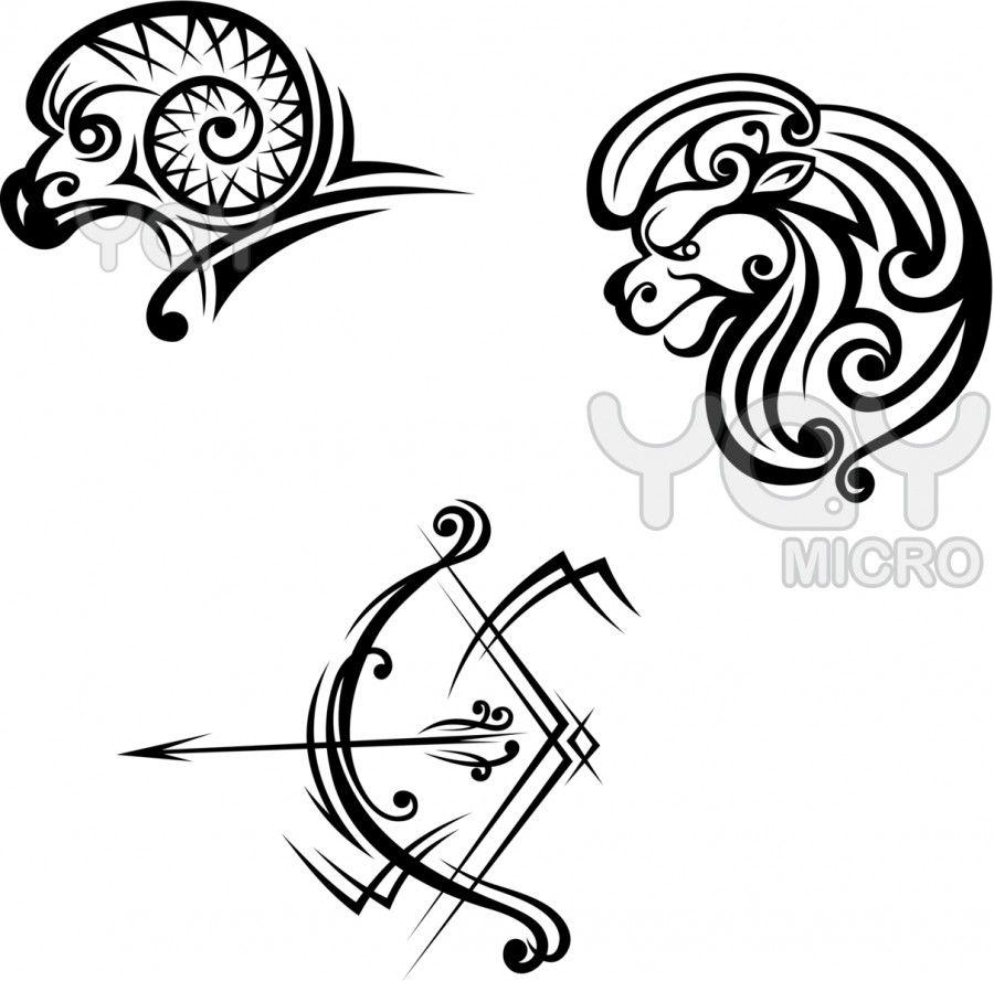 Tribal Aries And Sagittarius Tattoo Design