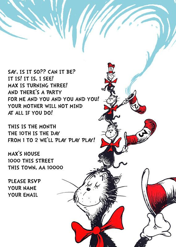 Dr Seuss Birthday Party Invitation 3rd Birthday by imfeelincrafty