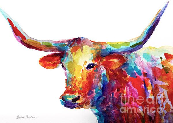 Colorful Texas Longhorn painting by Svetlana Novikova. Prints are available on gallery wrapped canvas, metal, acrylic, cell phone cases, framed and unframed. Copyright Svetlana Novikova