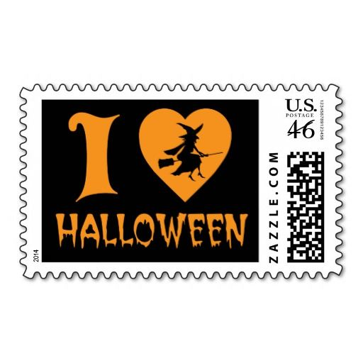 I Love Halloween! Heart Logo With Scary Witch Stamp Great To Send My Kids U0026  Grandkids Their Halloween Greetings.