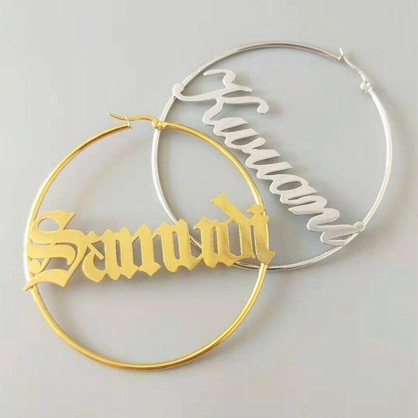Name Hoop Earrings Personalized Hoops