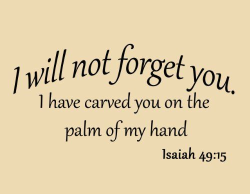 I Will Not Forget You I Have Carved You on the Palm of My Hand ...